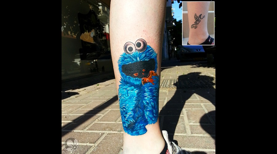 Cookie Monster Coverup Leg Realistic Color