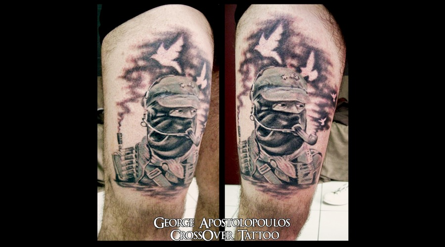 Zapatistas Tattoo  Portrait Black White