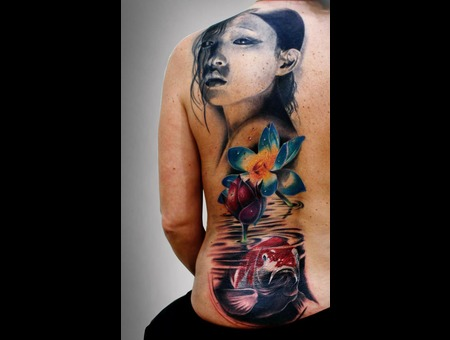 #Silvano Fiato #Japan #Geisha #Koi #Loto #Flowers Color
