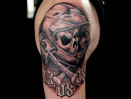 Biker  Skull Black Grey Arm