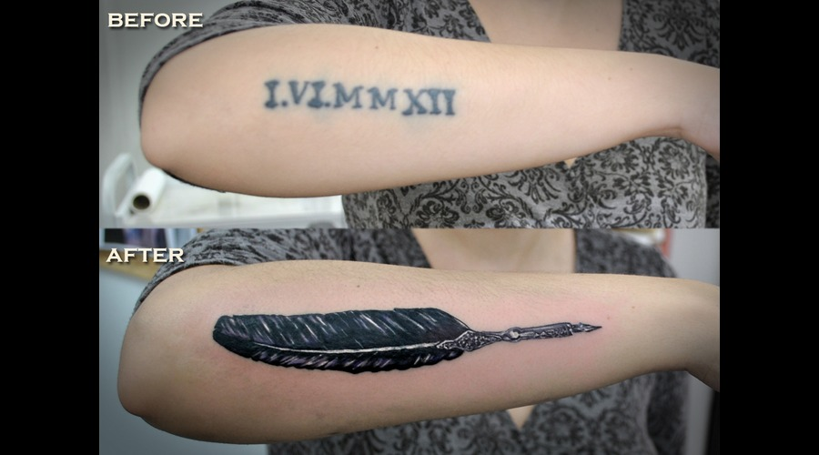 Quill  Feather  Cover  Up  Tattoo Color