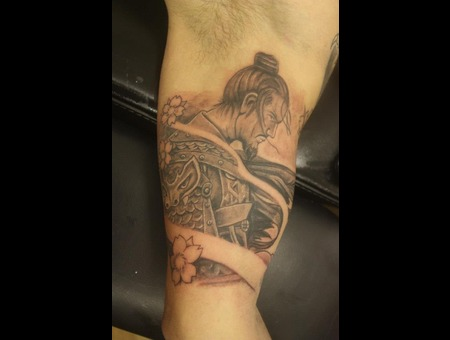 Samurai Tattoo Black White