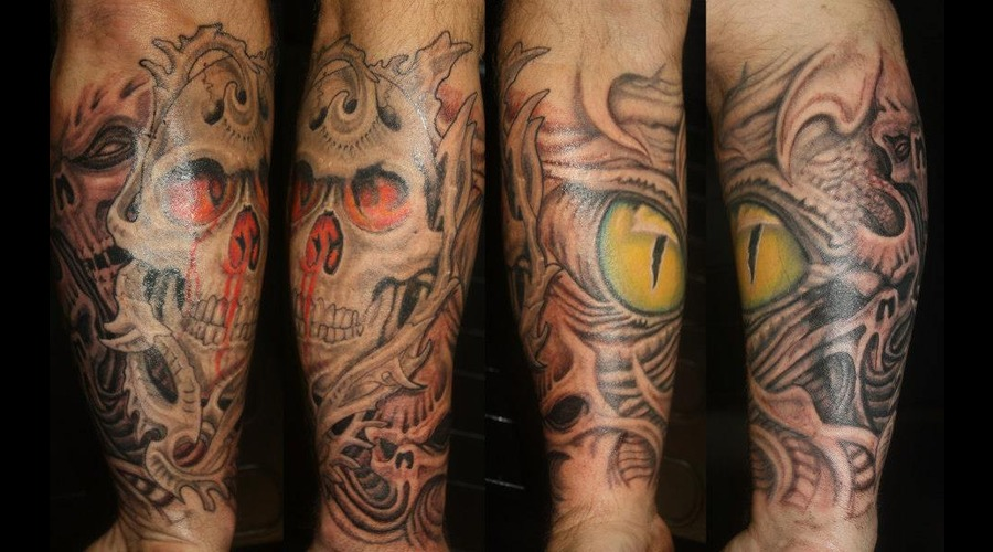 Skull Eye Biomechanical Tattoo Color