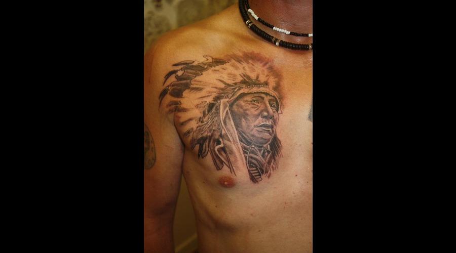 Native American Portrait Black White