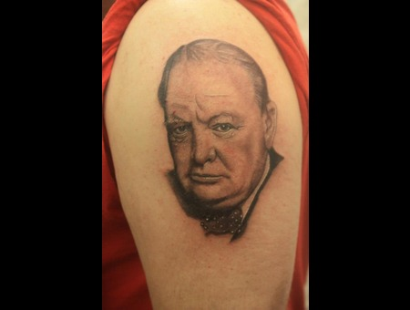 Winston Churchill Portrait Black White