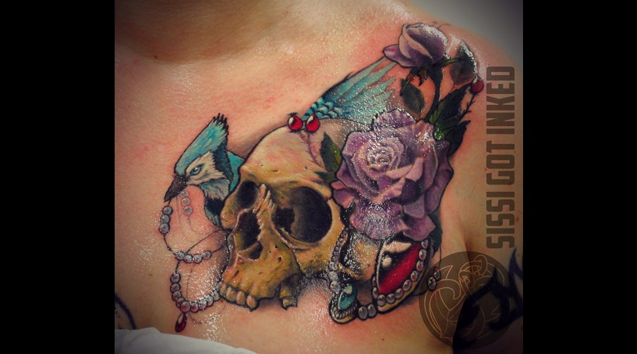 Chestpiece  Jay Bird  Purple  Rose  Skull  New  Traditional Color