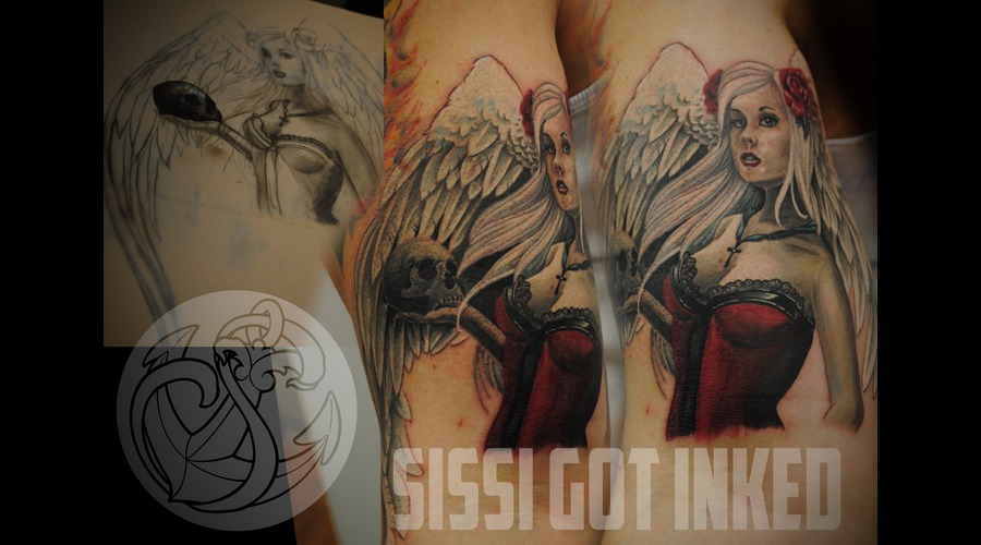Angel  Skull  Realistic  Roses  Wings Color