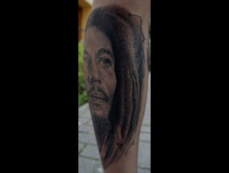 Portrait  Bob Marley Black White