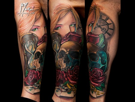 Woman  Skull  Rose  Cards  Clock Color