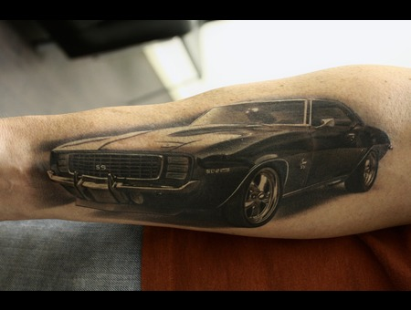 Black And Grey  69 Camaro  Car Tattoo Black Grey Forearm