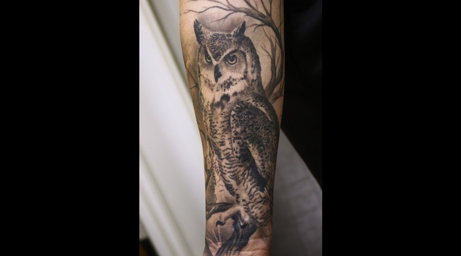 Owl Tattoo  Sleeve Black White
