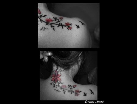 Flower  Flores  Birds  Pajaros  Tattoo Cover  Cover Up Color