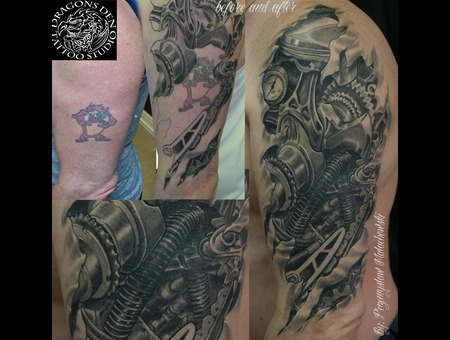 Bio Mechanical Cover Up.  Black White Thigh