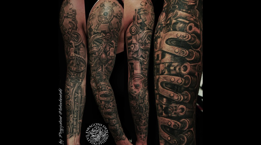 Bio Mechanical Steam Punk Full Sleeve. Black Grey Arm