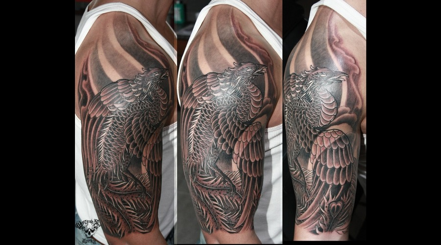 Phoenix Half Sleeve Black White