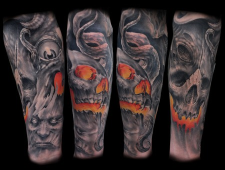 Skull Freehand Black White
