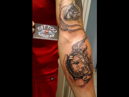Pocketwatch#Ledja Qereshniku Tattoo#Realistic#Rodosink# Black Grey Forearm