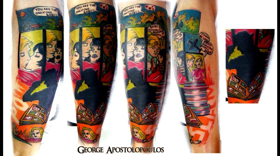 Vintage  Comic  Tattoo Color