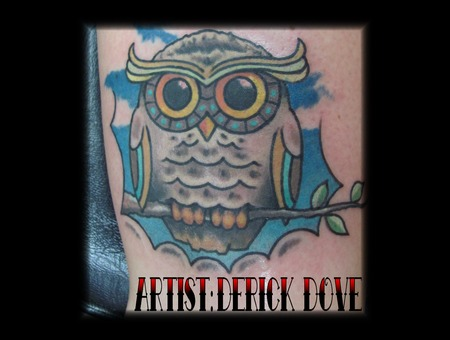 Owl Tattoo Color Cute Girly Blue Sky Clouds Color Lower Leg