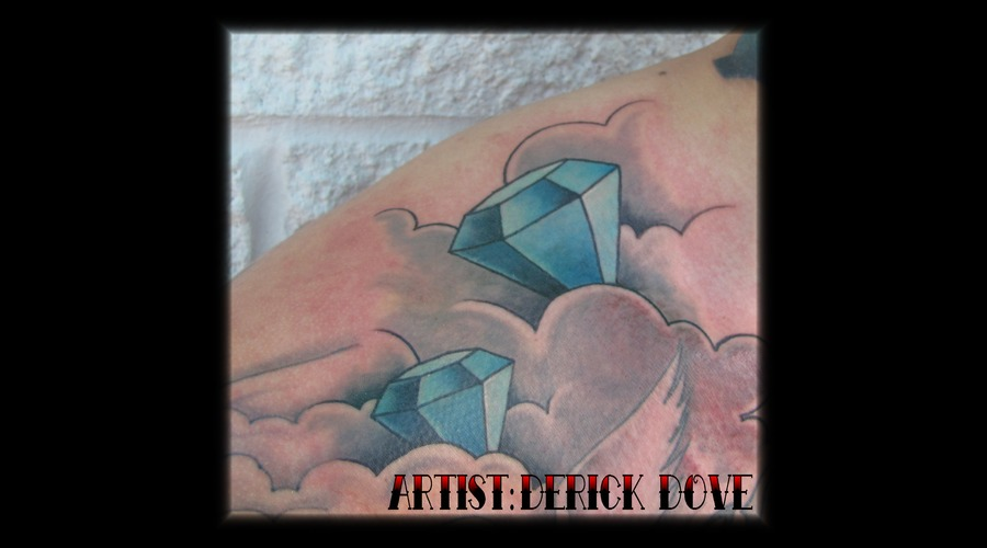 Diamond Tattoo Color Blue Clouds Color