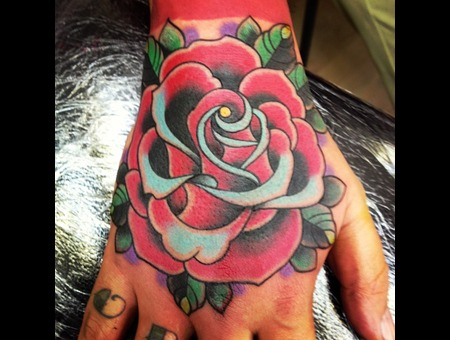Mikee Cue Rose Hand Tattoo Color