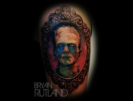 Frankenstein  Portrait  Color Monster Tattoo Color