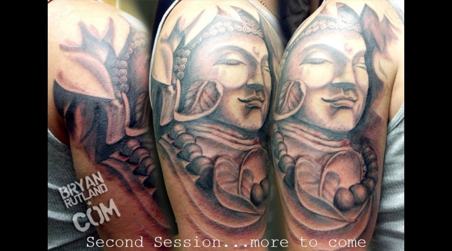 Buddha  Buddha Tattoo  Half Sleeve  Black And Gray  Black And Grey Black White