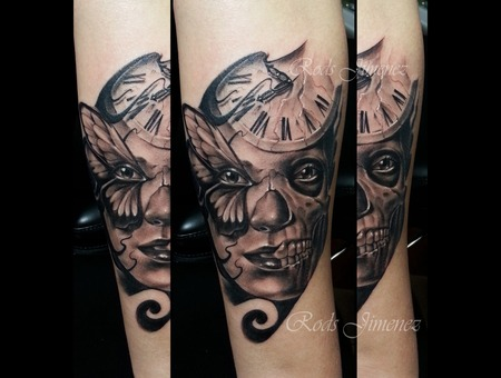 Clock Sugar Skull Butterfly Day Of Dead Black Grey Forearm