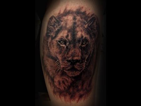 Lion Lioness Tattoo Black Grey