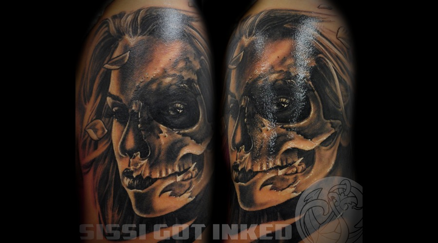 Skull Girl Woman Realistic Black And Grey Arm Black White