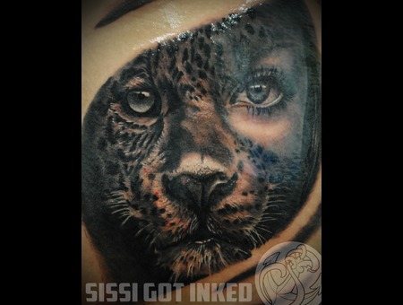 Leopard Woman Realistic Black And Grey Leg Black White