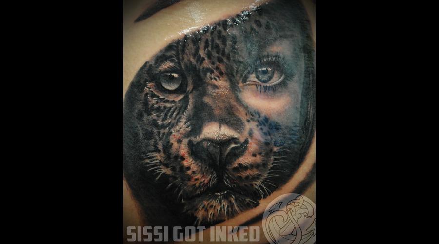 Leopard Woman Realistic Black And Grey Leg Black White