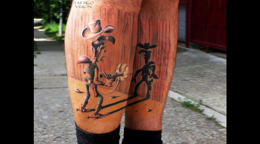 Cartoon Comics Color Lucky Luke Tattoo Color Lower Leg