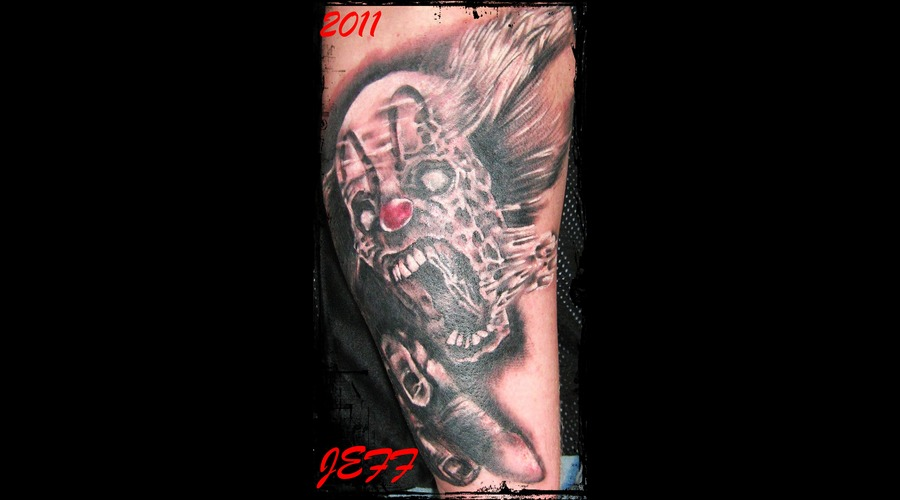 Clown'jeff'crazy'brasov'romania' Black White Forearm