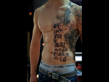 The Lettering Is My Work. Chest And Side Tattoos Are Done By Other Artist