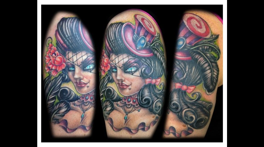 Top Hat  Girl  Color  Half Sleeve  Victorian Color