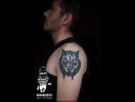 1st One  Ricardo Sousa  Bandido Art Tattoo Black White Shoulder