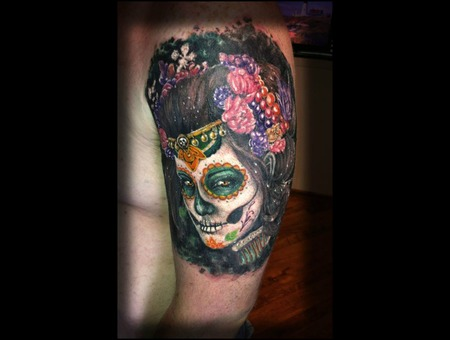 Woman Face Arm Dia Muertos Color