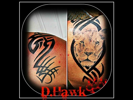 Lion Tribal Black And Grey Realism Black Grey Shoulder