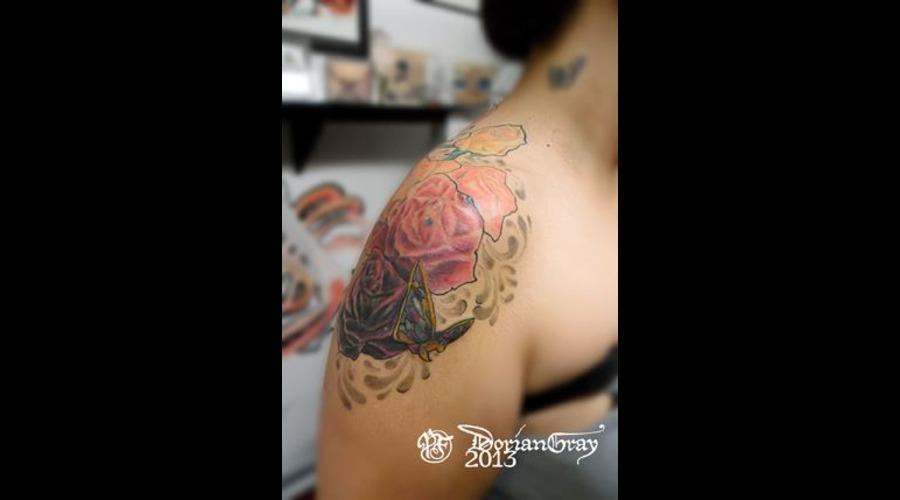 Rose  Filigree  Shoulder  Color  Butterfly Color