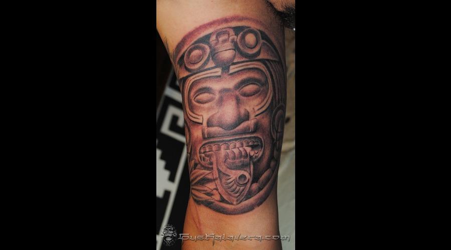 Aztec Sun Maya Mayan Seattle Gus Kalavera Black White