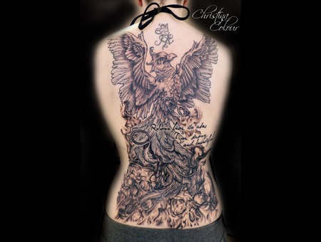 Backpiece Skull Flames Phoenix Black White Back