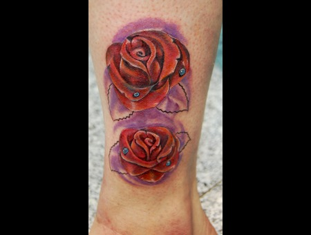 Roses  Rosas  Color  Tattoo Surrealist Color Lower Leg