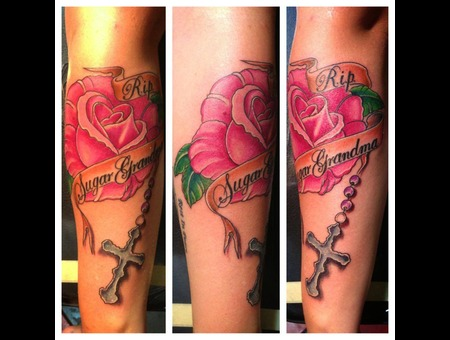Rose  Cross  Banner  Rosary  In Memory  Color Forearm