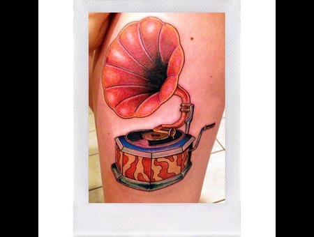 Phonograph  Neotrad  Neo Traditional  Thigh Tattoo  Color Thigh