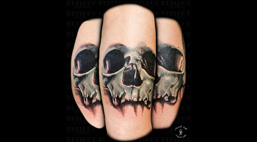 Skull  Realism  Horror Color Forearm