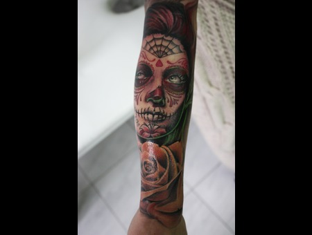 #Rose #Sugarskull #Women #Inkcorpstattoo   Color Arm