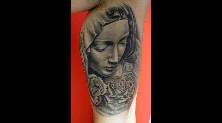 Pieta  Virgin  Mary Black Grey