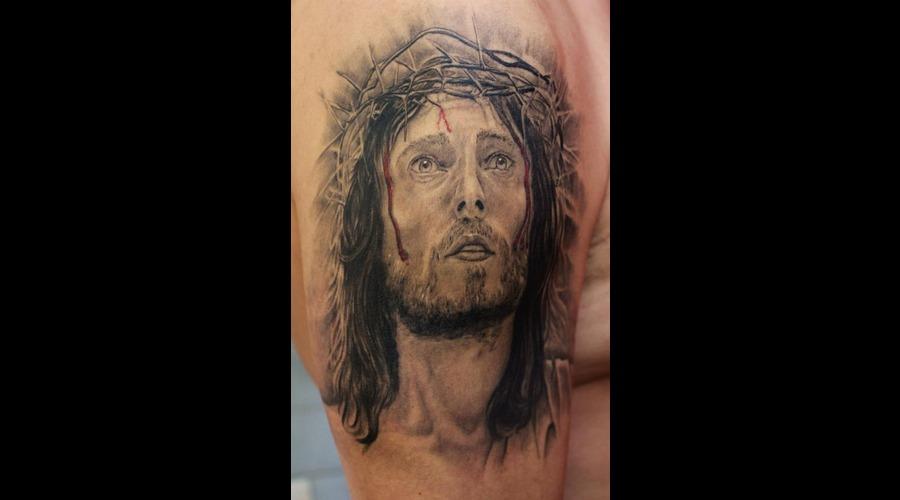 Jesus  Christ Black Grey Shoulder