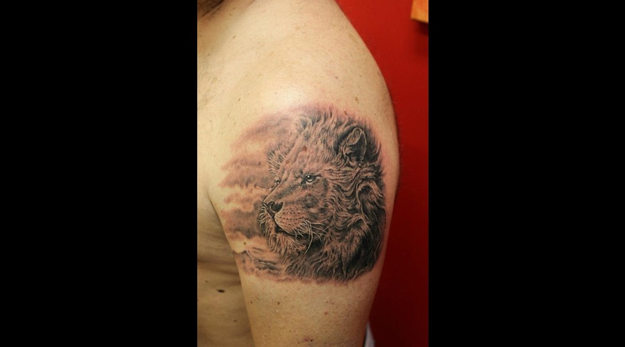 Lion Black Grey Shoulder